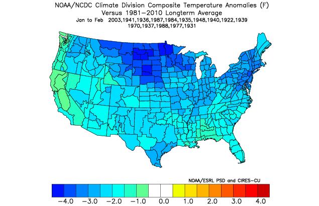 Jan - Feb temperature anomalies following greatly positive PDO Decembers
