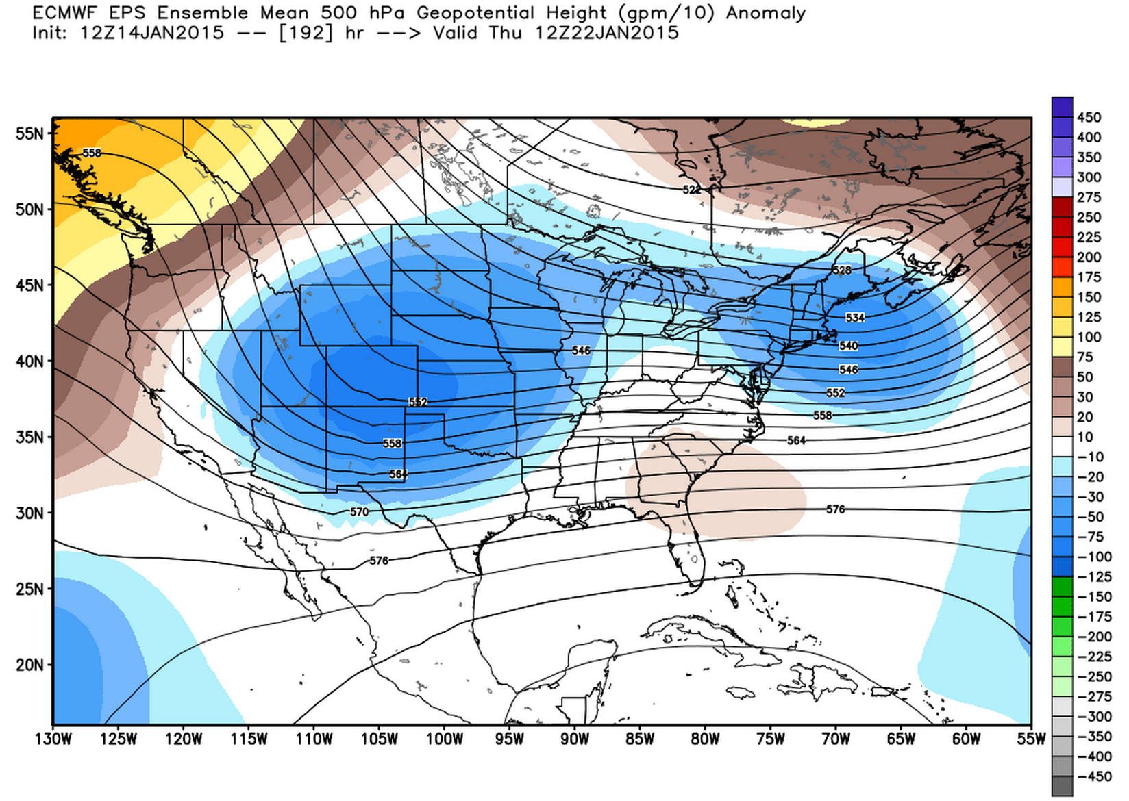12z ECMWF EPS Ensemble Mean 500 hpa Geopotential Height   WeatherBell Analytics