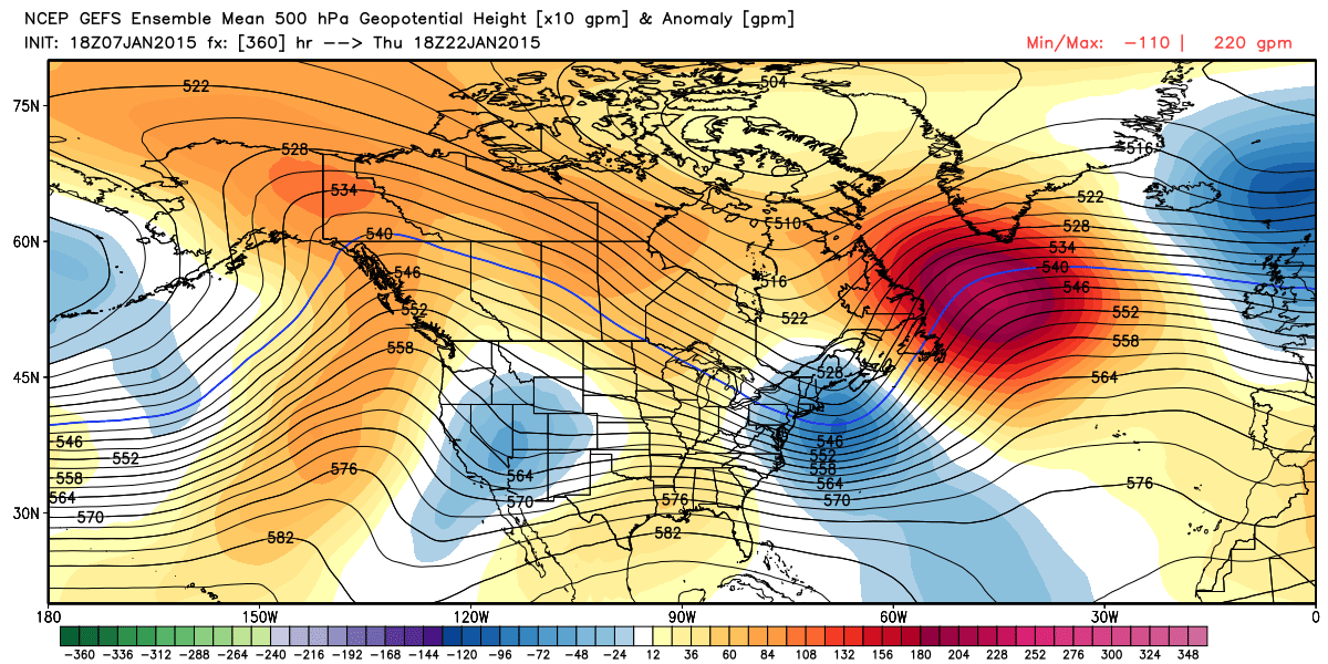 Forecast 500hpa GFS Ensemble Mean | WeatherBell Analytics