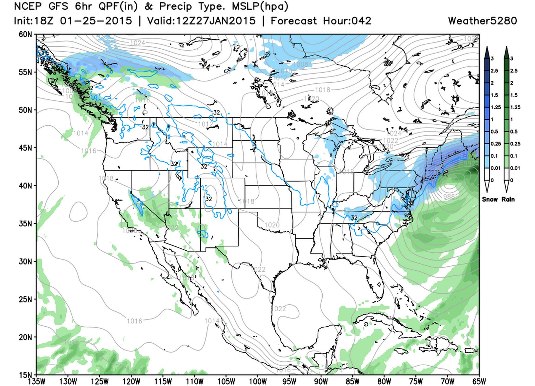 GFS surface pressure, precip type | Weather5280 Models