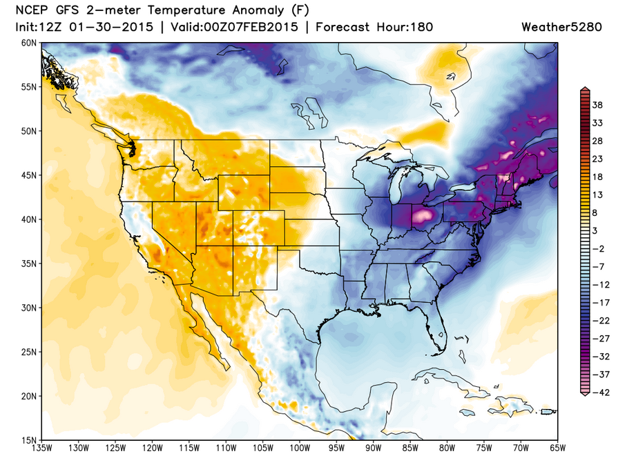 GFS 2-meter temperature anomaly forecast Feb 06, 2015   Weather5280 Models