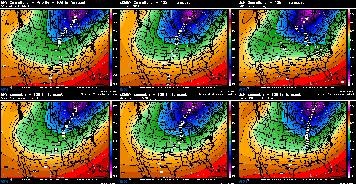 Comparison of 500H pattern of GFS, ECM, GEM and their ensembles at 5am Sunday morning | WSI