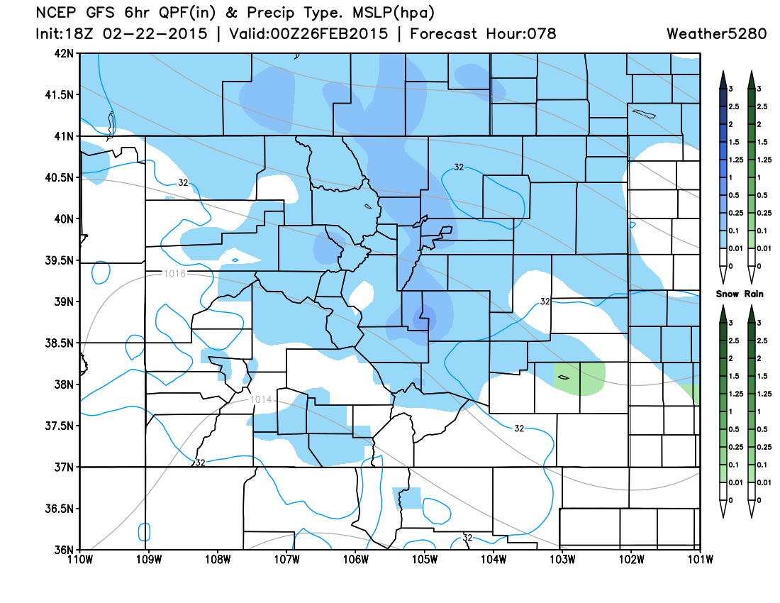 Snowfall Potential Wednesday 11am-5pm | Weather5280 Models