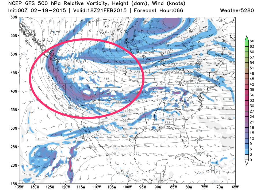 GFS 500 hPa relative vorticity and wind Saturday | Weather5280 Models