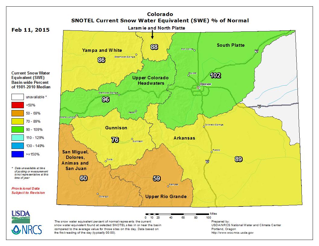 Colorado SNOTEL SWE map | Feb 11, 2015