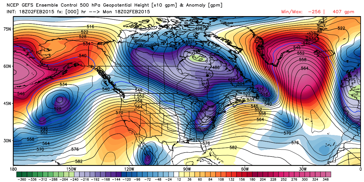 GEFS Ensemble Control 500 hpa | WeatherBell Analytics