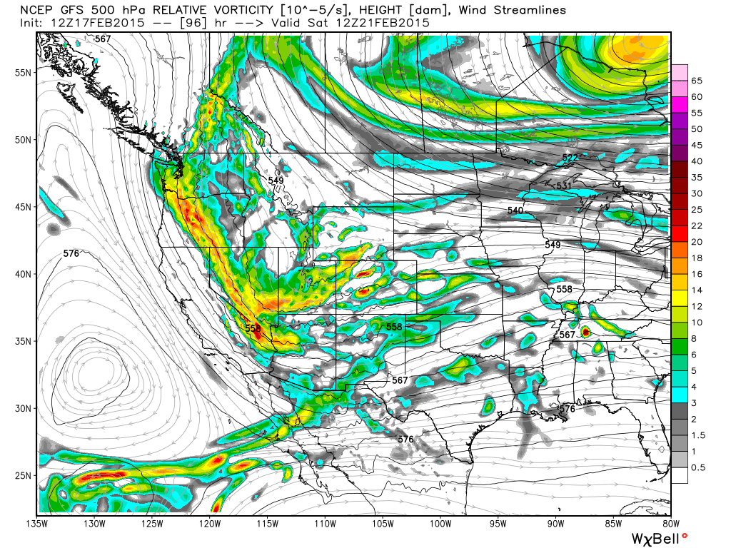 GFS 500 hPa relative vorticity | WeatherBell Analytics