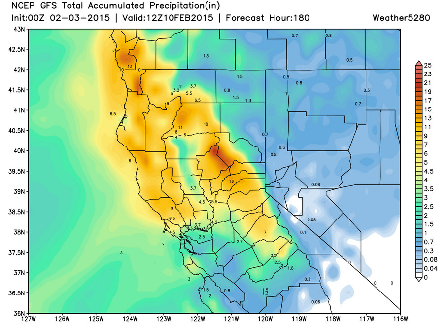 GFS accumulated precipitation forecast for northern California | Weather5280 Models