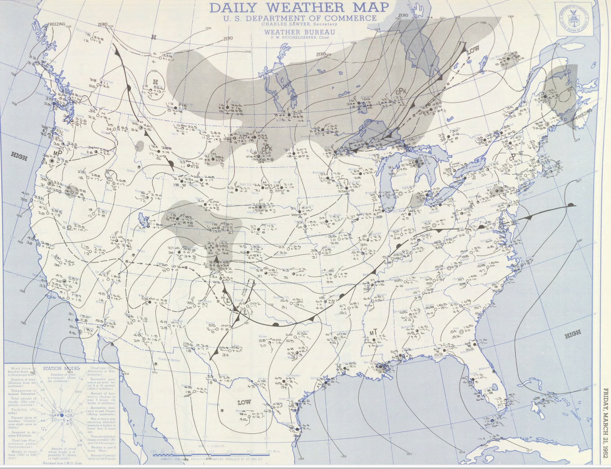 Surface map for March 21, 1952 | NOAA
