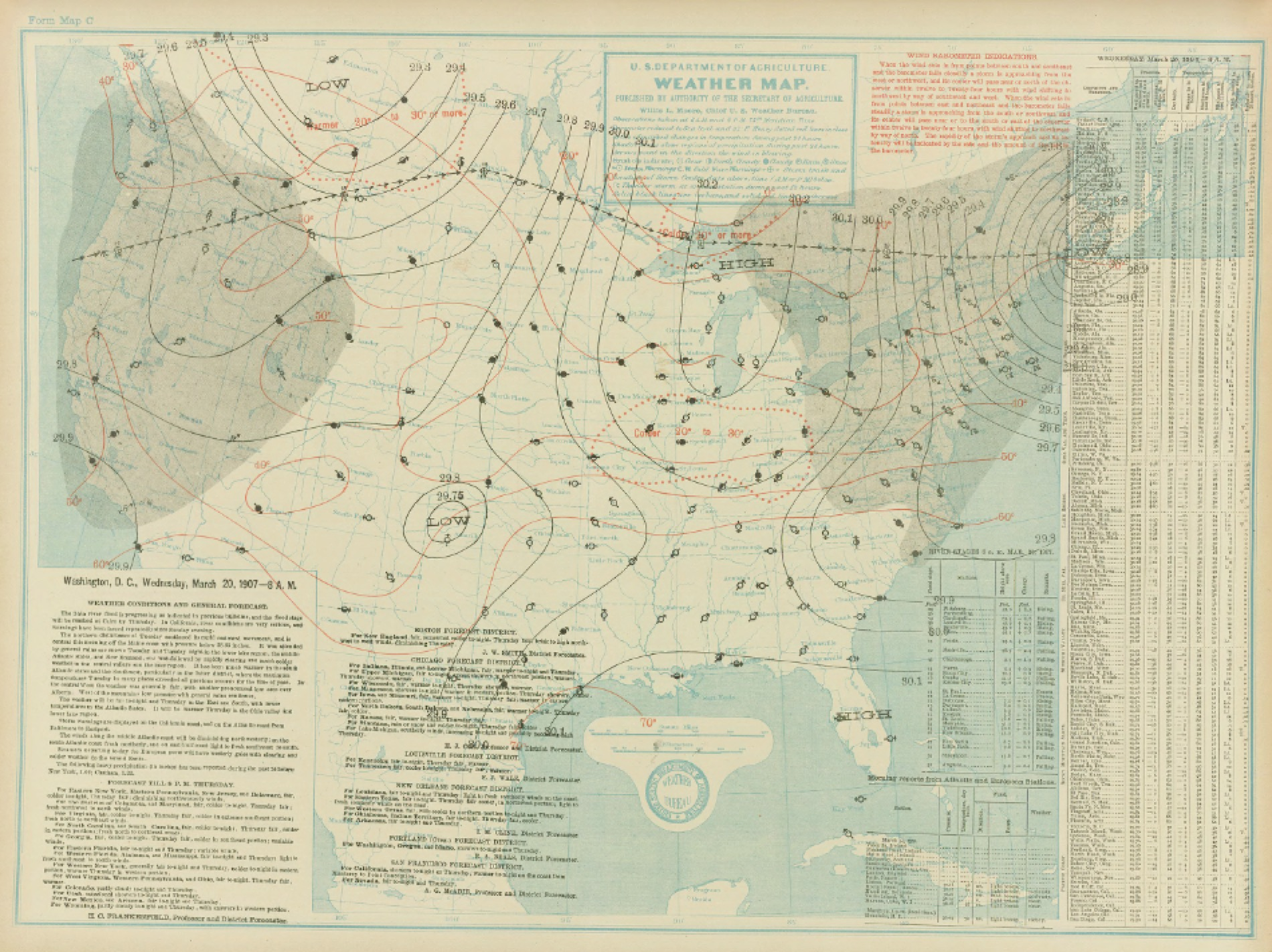 Surface map for March 20, 1907 | NOAA