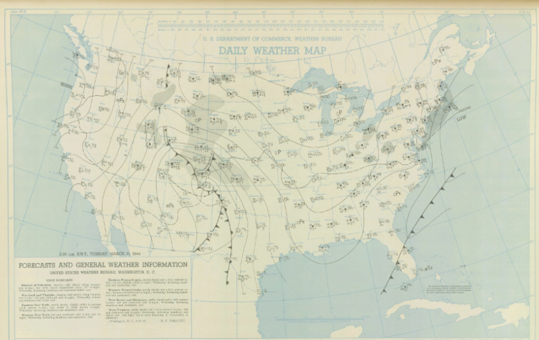 Surface map for March 20, 1944 | NOAA