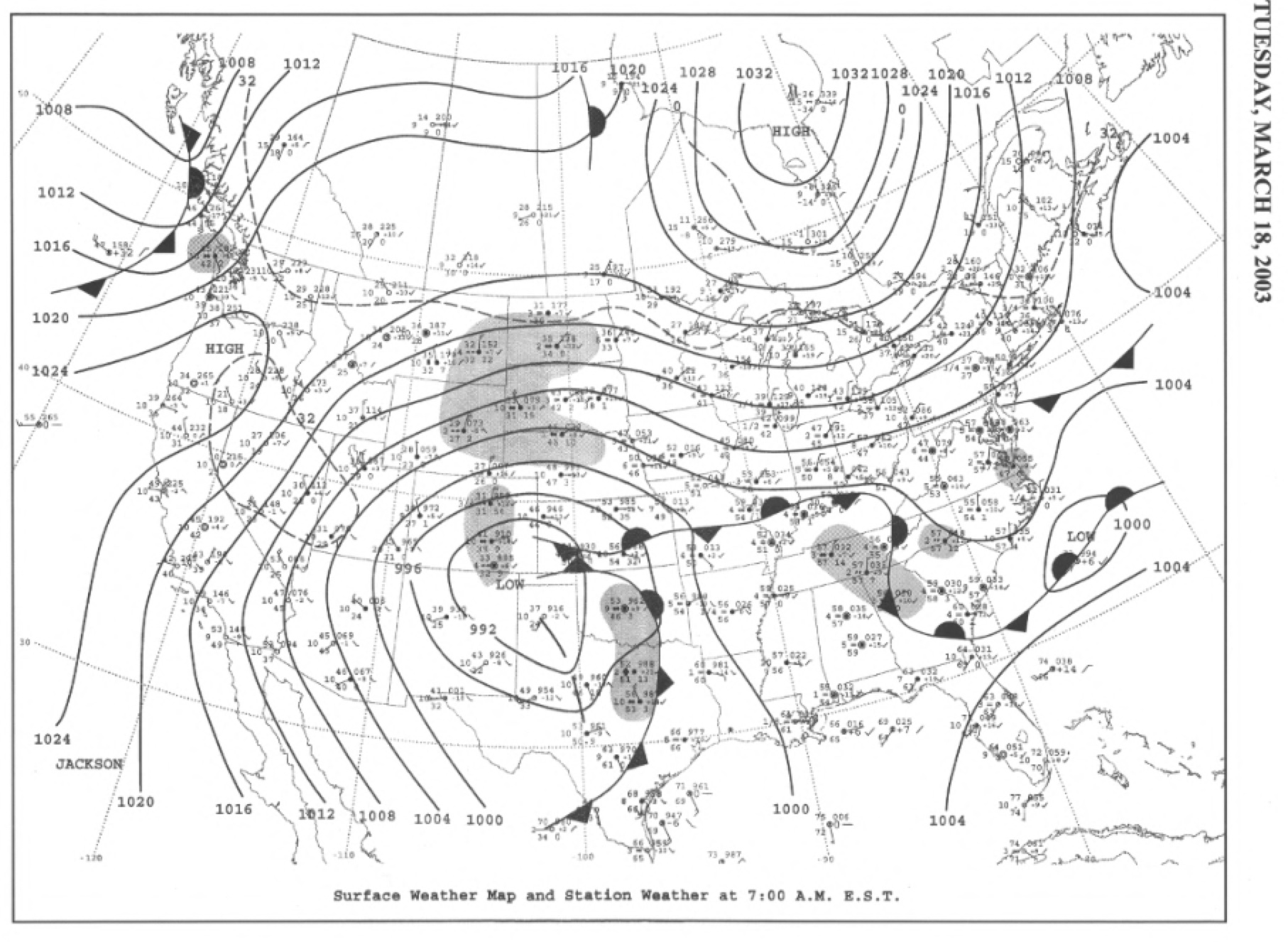 Surface map for March 18, 2003 | NOAA
