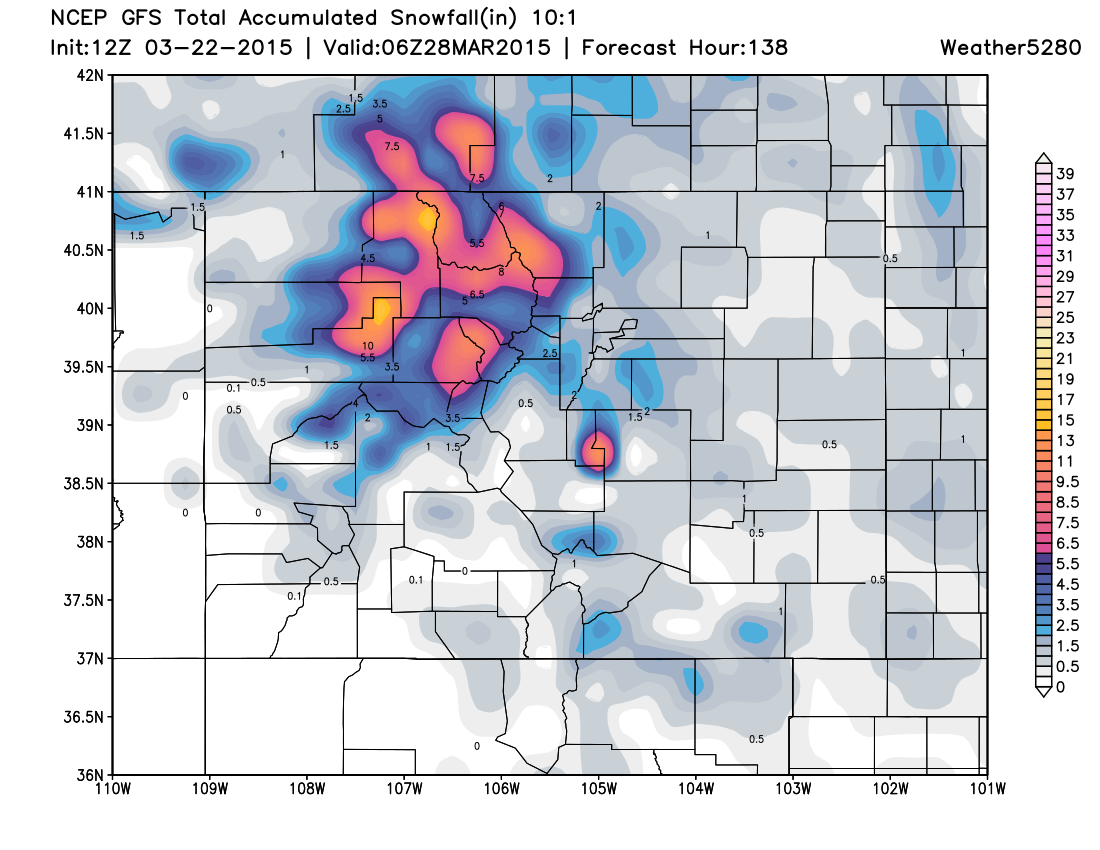 GFS snowfall forecast | Weather5280 Models