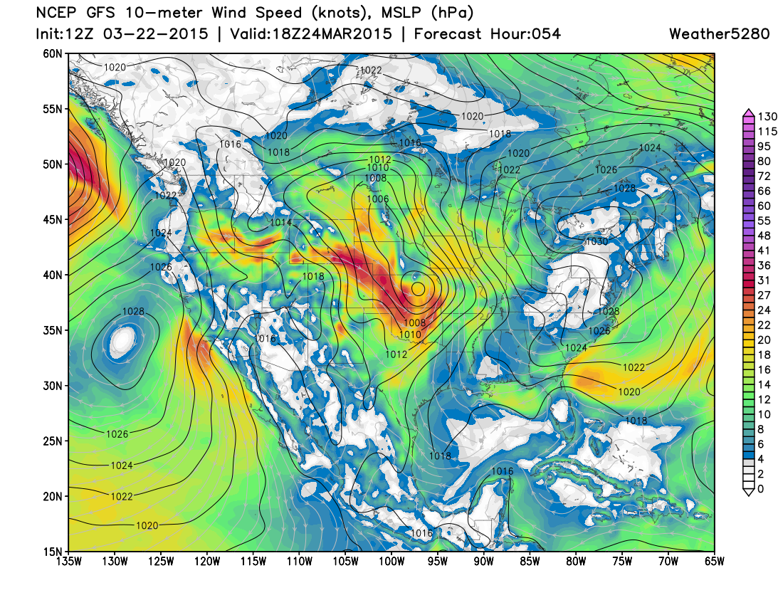 GFS forecast wind speed and direction 18z Tuesday | Weather5820 Models