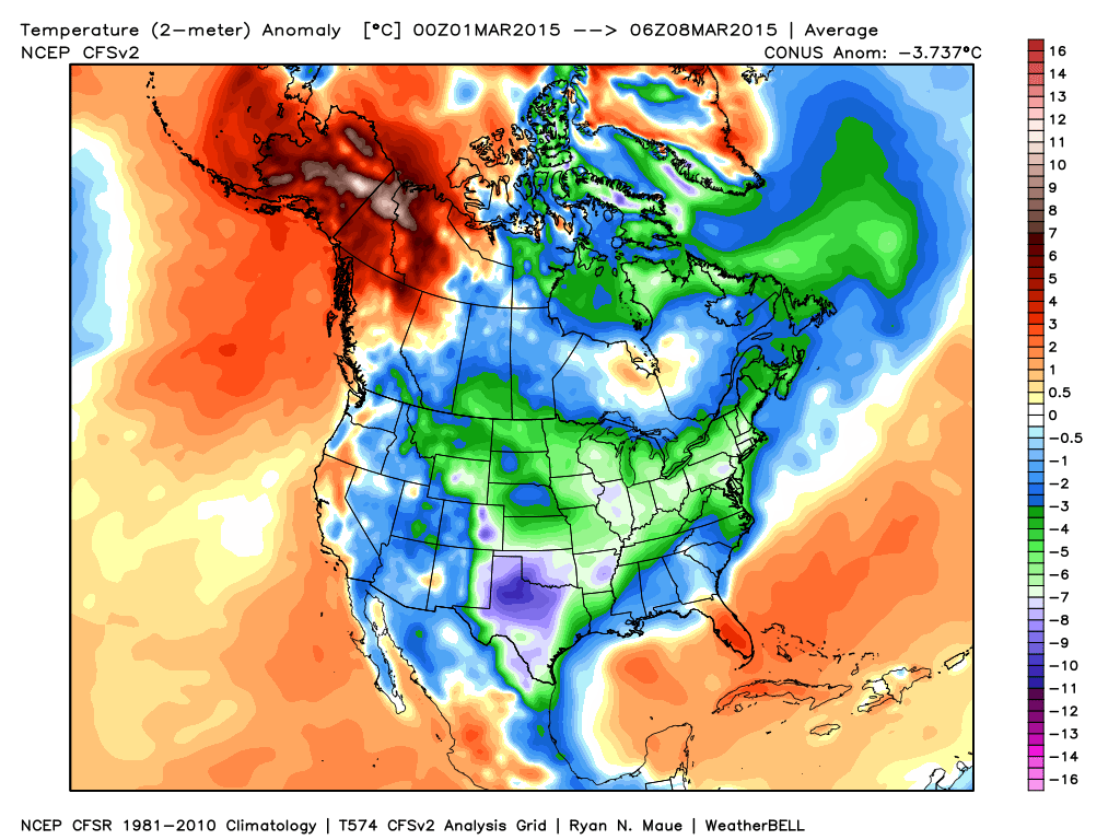 March 01-08 U.S. temperature anomalies | WeatherBell Analytics