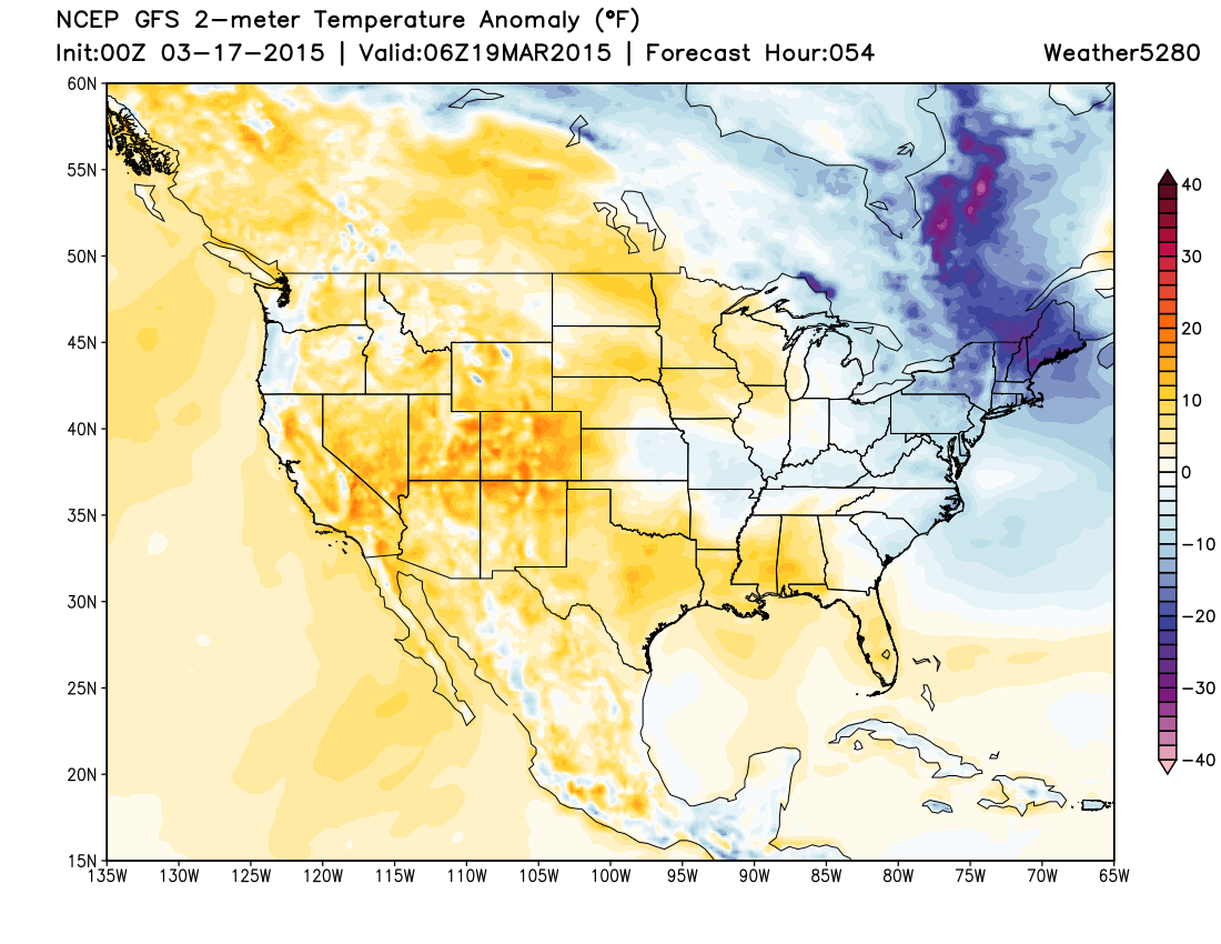 Forecast temperature anomalies | Weather5280 Models