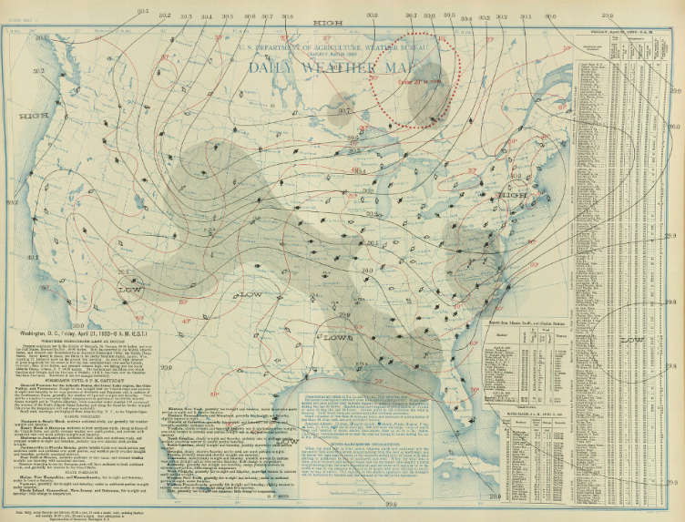 Surface map for April 21, 1933 | NOAA