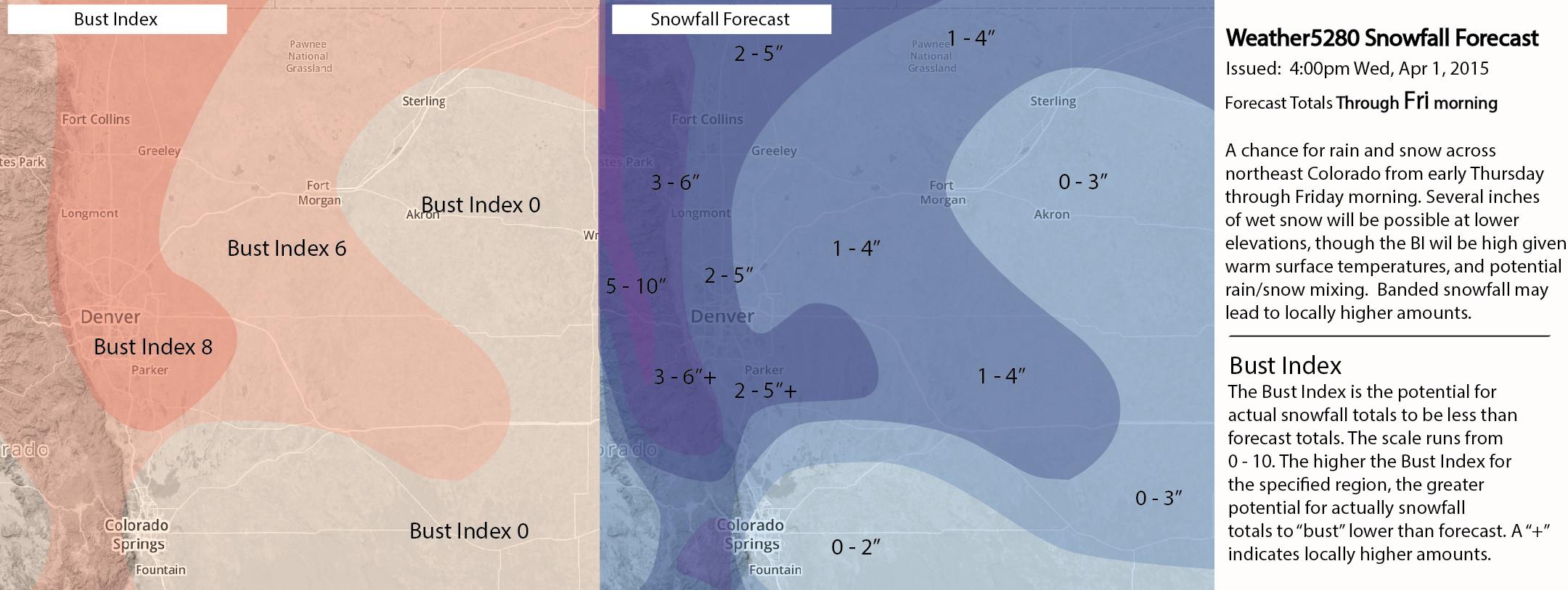 Weather5280 Denver, Colorado Snowfall Forecast