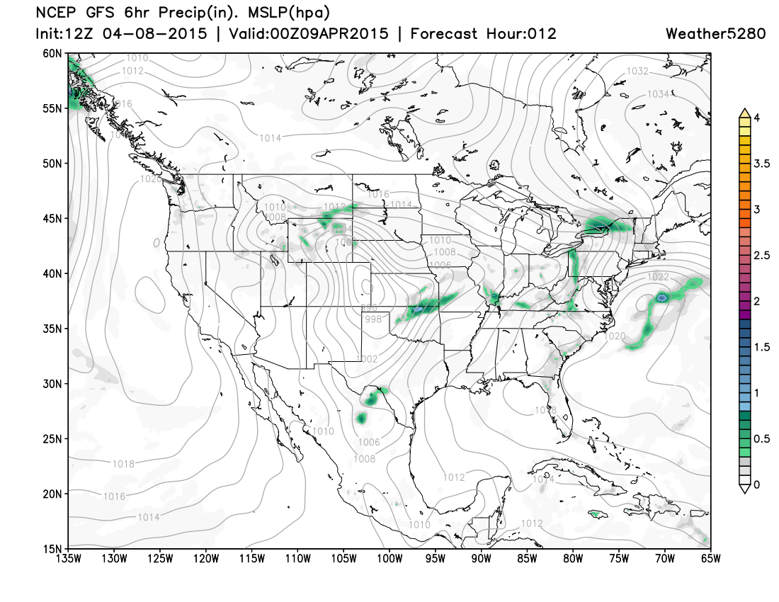 12z GFS Surface Projection from Weather5280 valid at 6pm Wednesday MST
