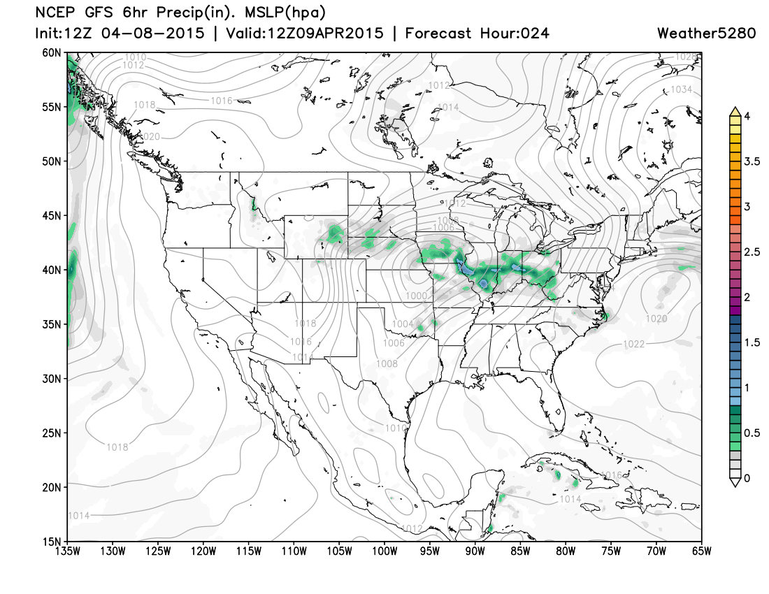 12z GFS Surface Projection from Weather5280 valid at 6am Thursday MST