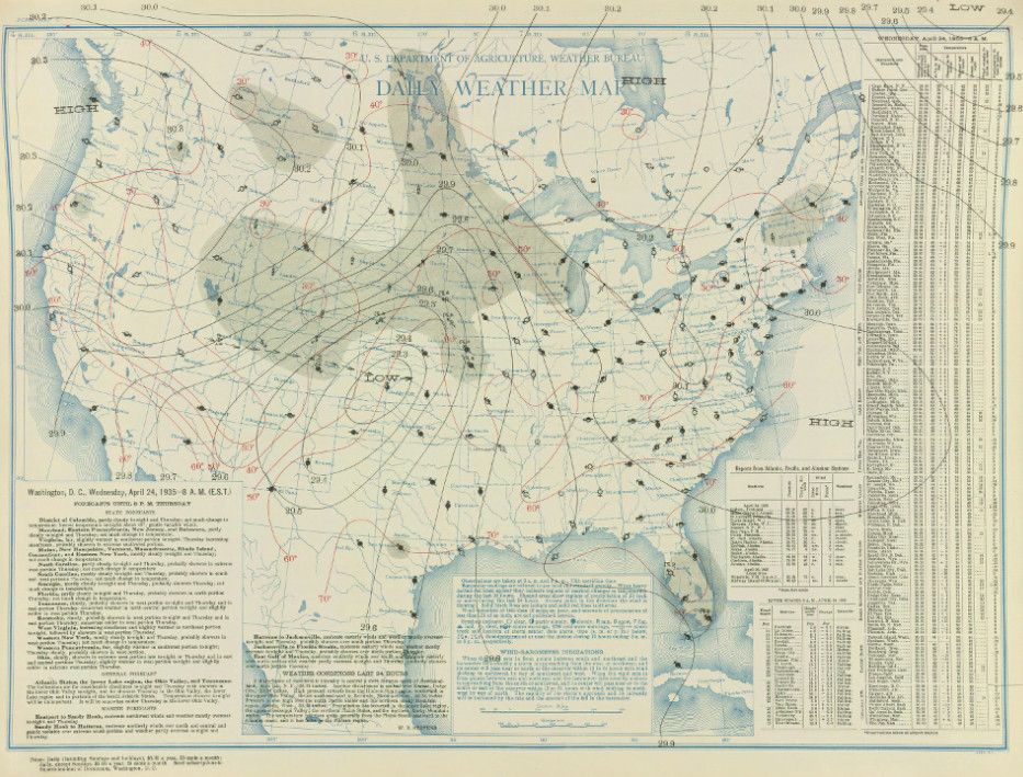 Surface map for April 24, 1935 | NOAA