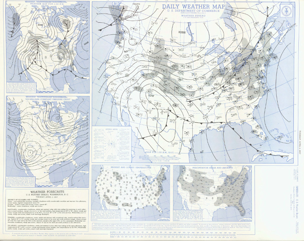 Surface map for April 2, 1957 | NOAA