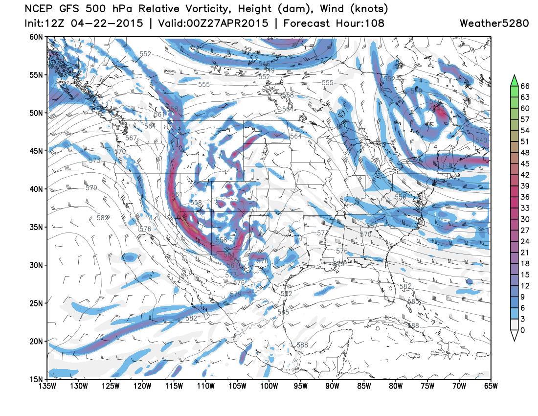 GFS 500 Relative Vorticity   Weather5280 Models