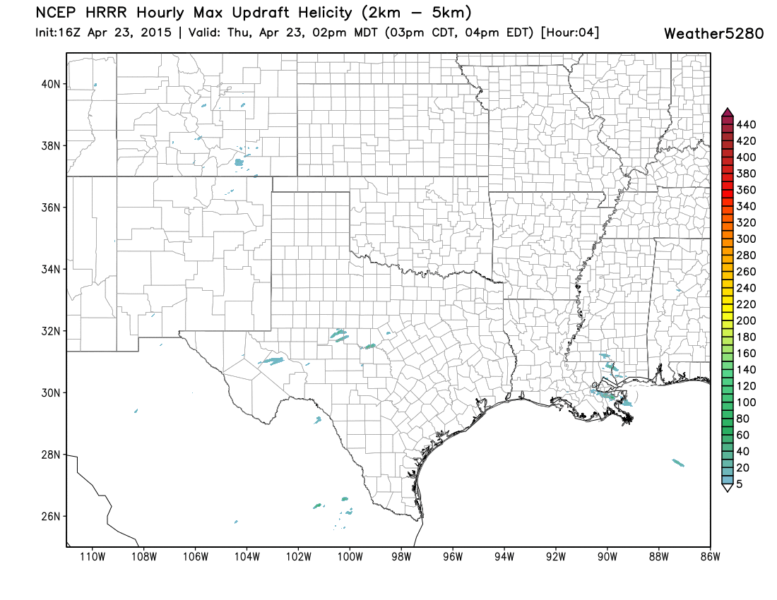 HRRR Helicity Projection, weather5280