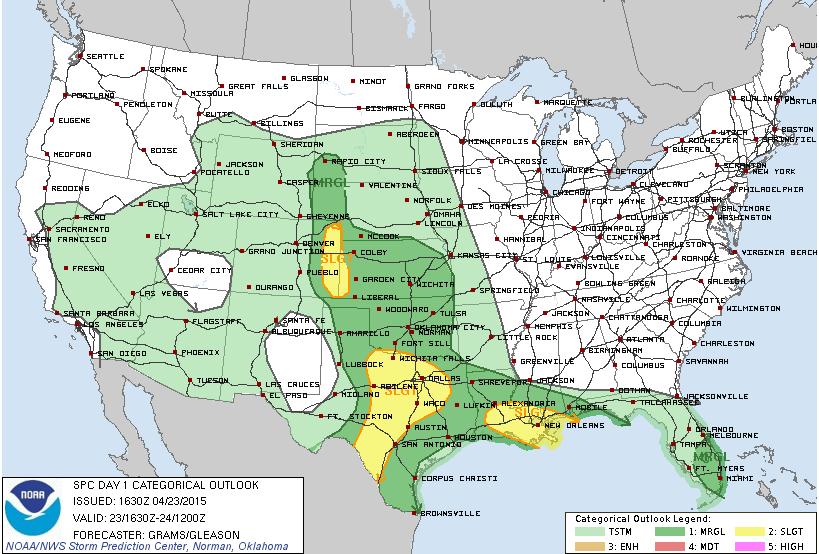 SPC Convective Outlook for Thursday
