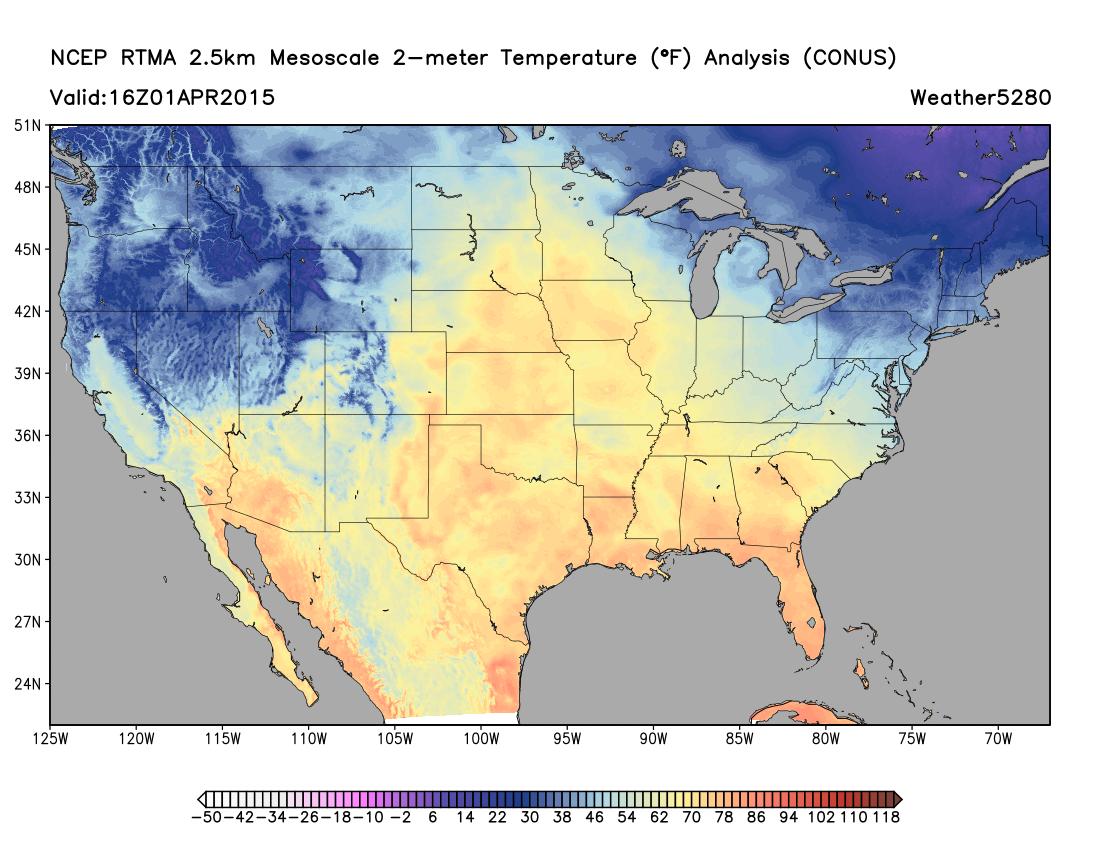 RTMA analysis | Weather5280 Models