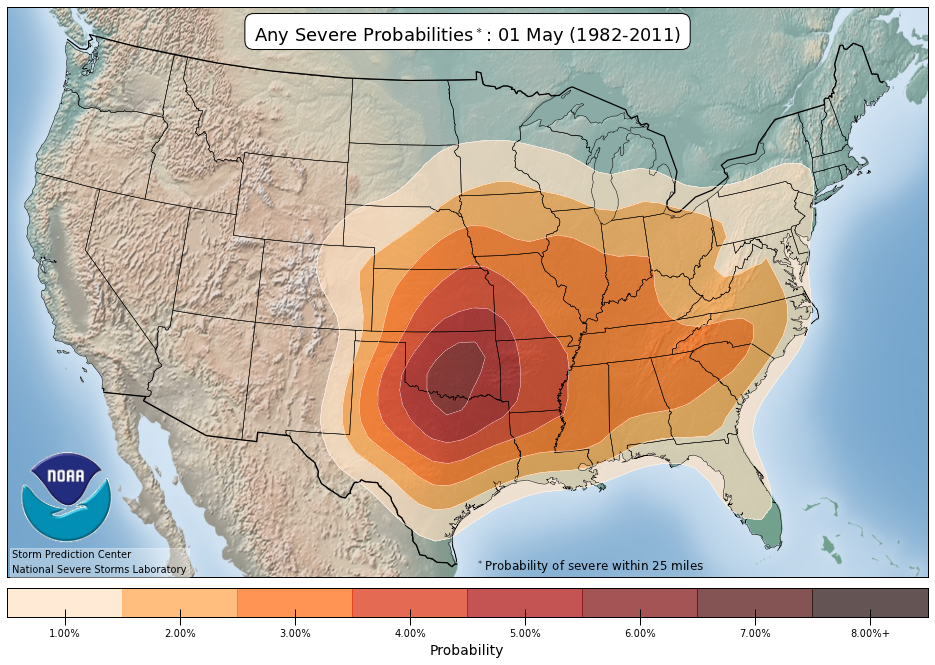 Any severe weather probabilities | May 1