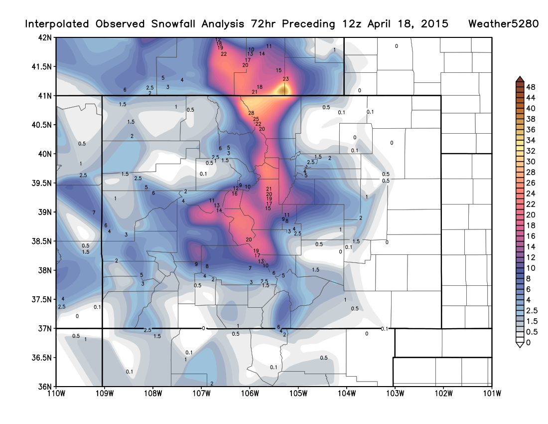 NOHRSC Interpolated Observed Snowfall Analysis   Weather5280 Models