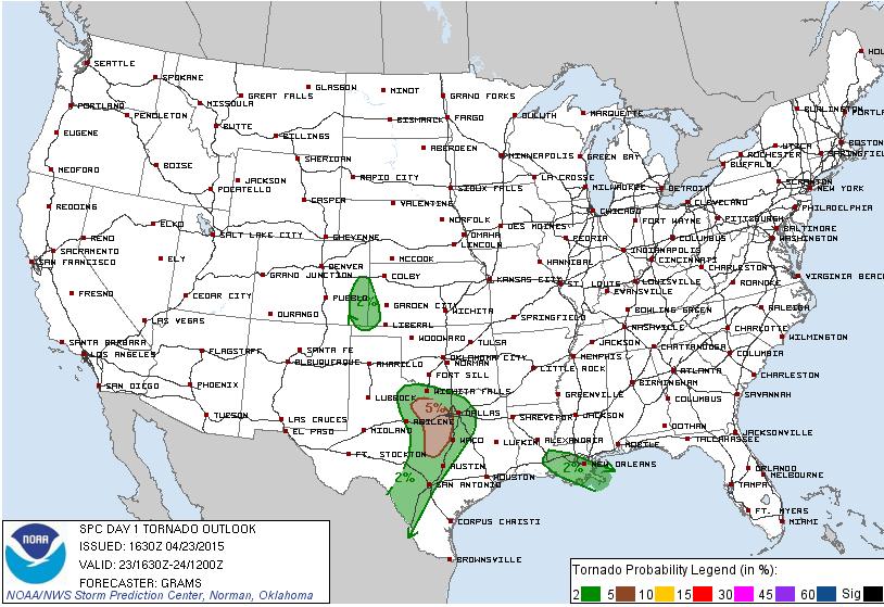 SPC Tornado Outlook for Thursday