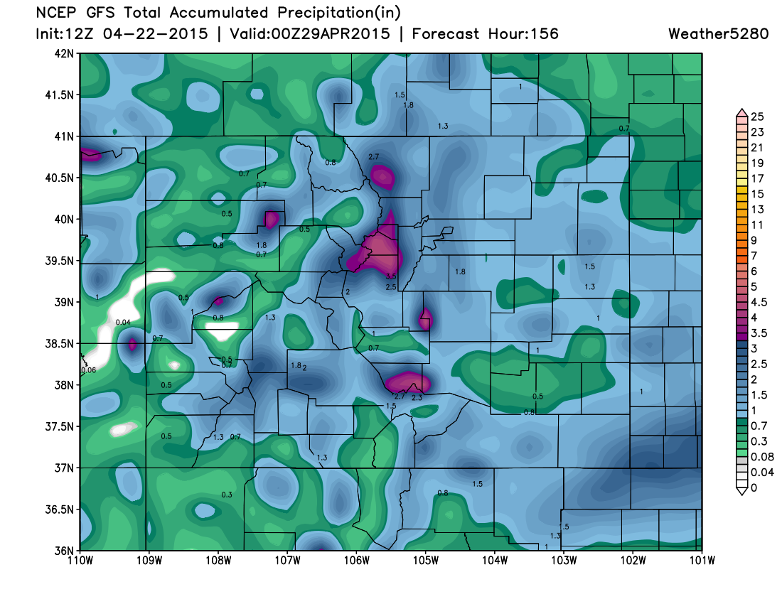 GFS accumulated precipitation   Weather5280 Models