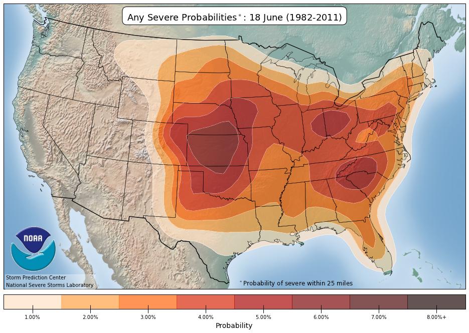 SPC severe weather probabilities | June | Colorado
