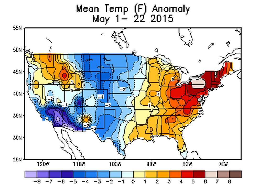 May 2015 departure from normal temperatures   Climate Prediction Center