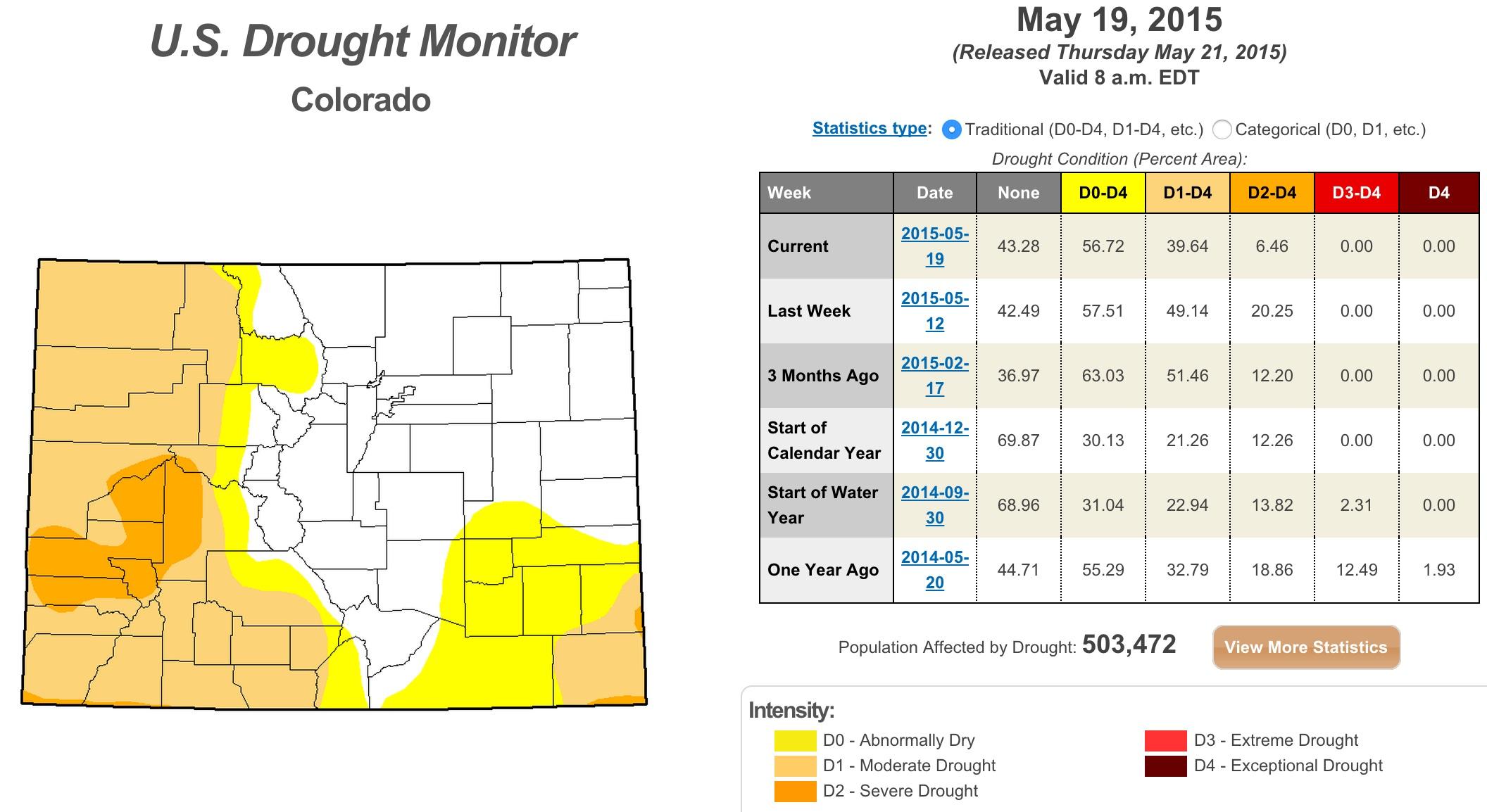 Colorado drought map May, 19, 2015