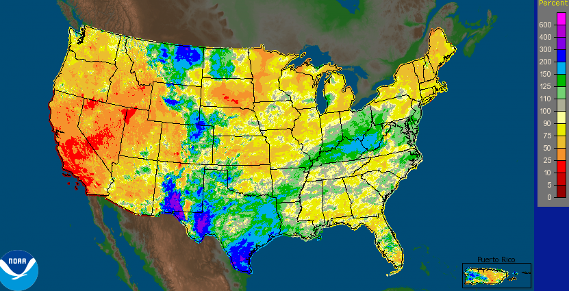 Year to date precipitation departure from normal (%) NWS