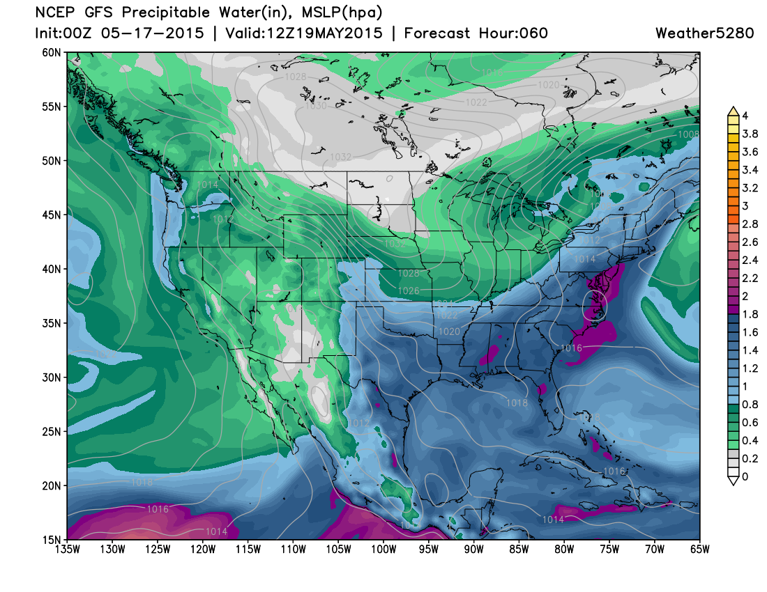 GFS precipitable water forecast | Weather5280 Models