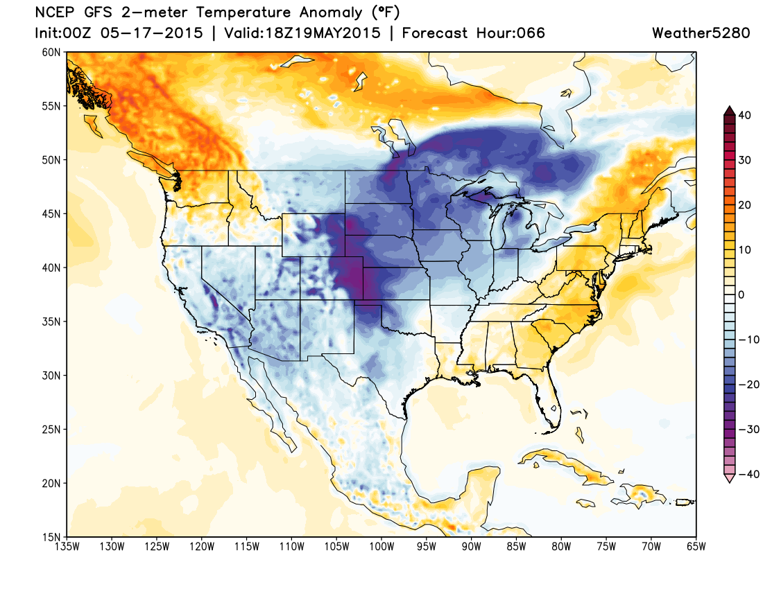 GFS forecast temperatures departure from normal | Weather5280 Models