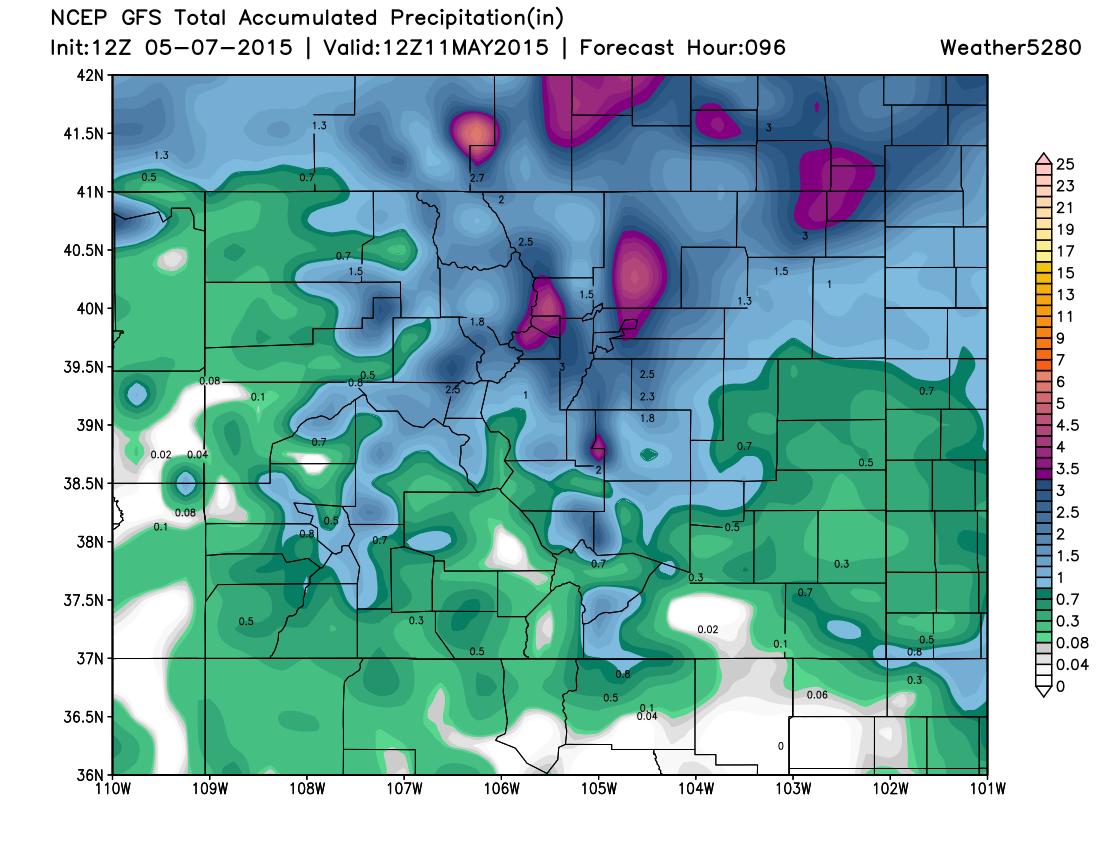 GFS precipitation forecast   Weather5280 Models