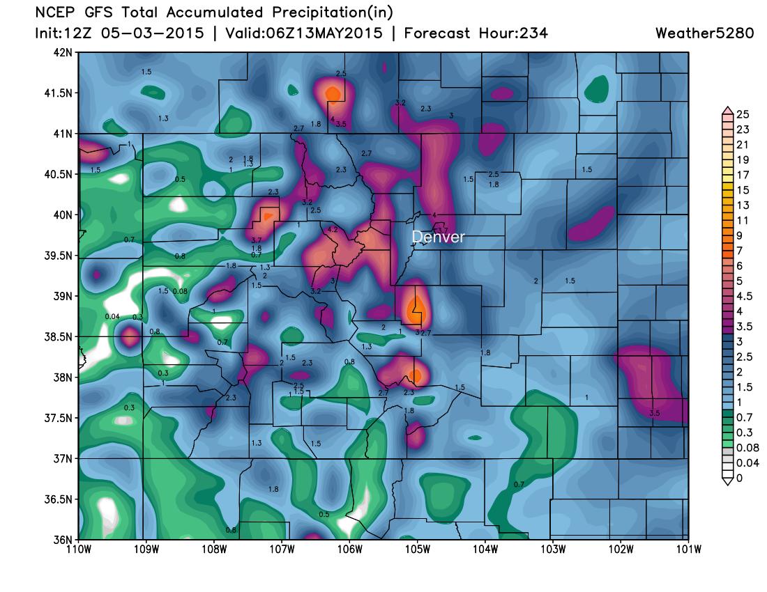 Colorado precipitation forecast 12z GFS | Weather5280 Models