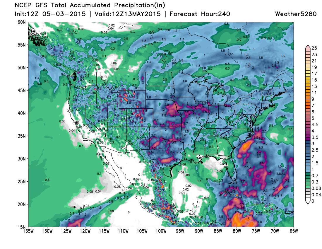 United States precipitation forecast 12z GFS | Weather5280 Models