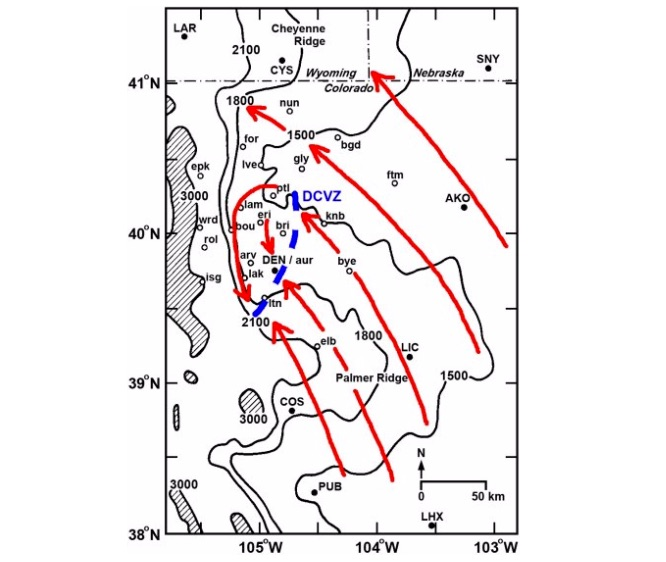 Geographic location of a DCVZ.  Source:  Al Pietrycha, Drs. Bruce Lee and Paul Markowski