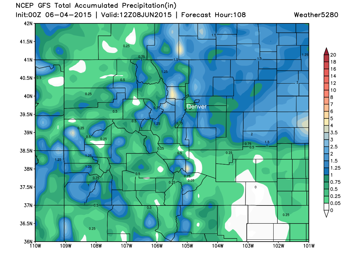 GFS precipitation forecast