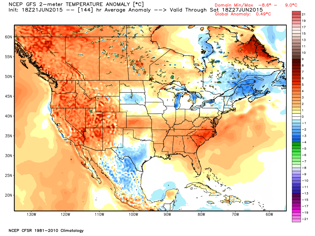GFS 5 day average temperature anomaly | WeatherBell Analytics