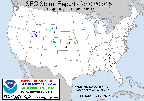 "Wednesday storm reports | 40 hail in Colorado, one >2"" diameter"