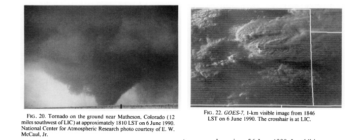 Limon, CO tornado image taken by E. W. McCaul and GOES-7 visible image of storm