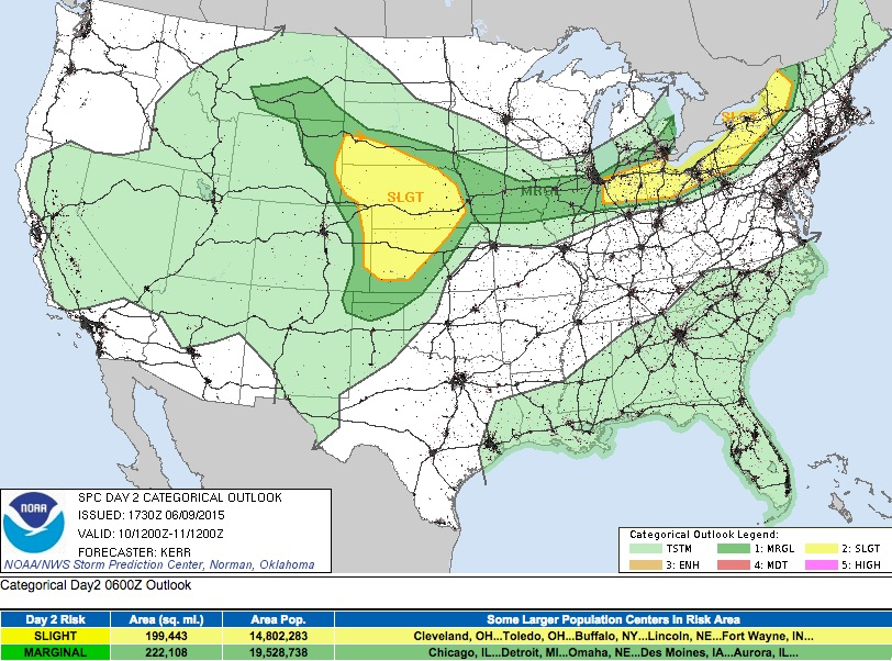 Wednesday severe weather outlook | Updated 11:30am Tuesday, June 9 | SPC