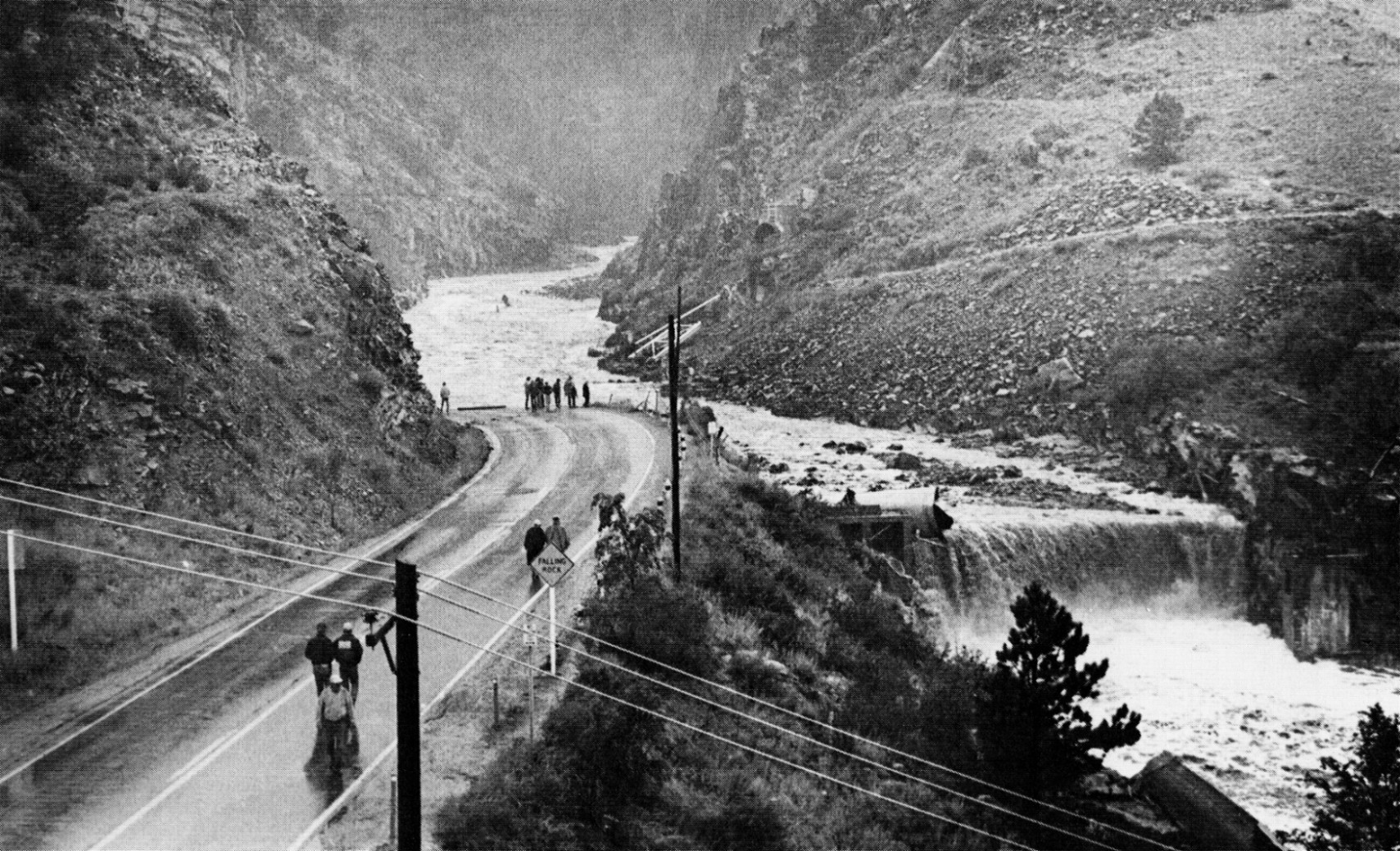 U.S. 34 after the 1976 Big Thompson Flood. Both the road and siphon were swept away | Kenneth Jessen